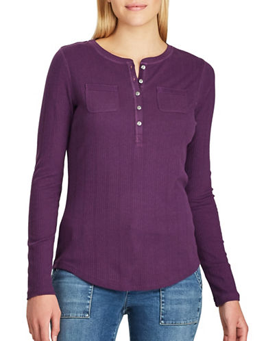 Chaps Petite Brixton Long-Sleeve Cotton Sweater-PURPLE-Petite Small