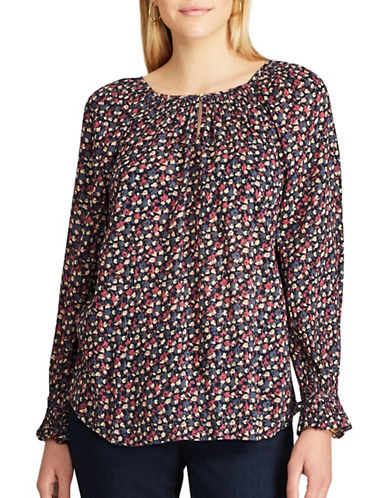 Chaps Petite Long Sleeve Floral Top-NAVY MULTI-Petite Small