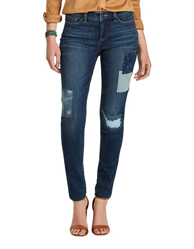 Chaps Petite Skinny Patch Jeans-BLUE-Petite 8