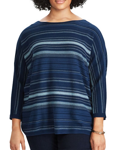 Chaps Plus Striped Cotton Sweater-BLUE MULTI-2X