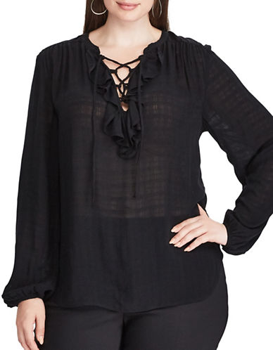 Chaps Plus Ruffled Peasant Relaxed-Fit Top-BLACK-2X