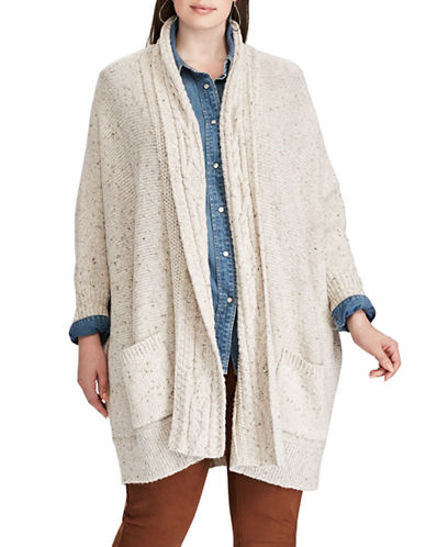 Chaps Plus Open Front Shawl Cardigan-BEIGE-2X