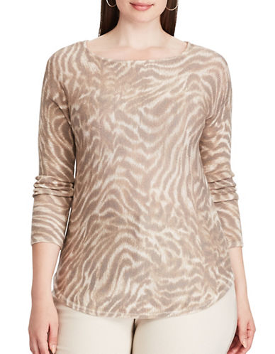 Chaps Plus Animal Print Jersey Sweater-BEIGE-3X