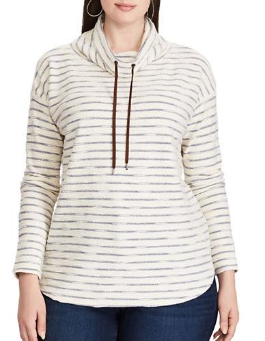 Chaps Plus Stripe Funnelneck Pullover-INDIGO MULTI-1X
