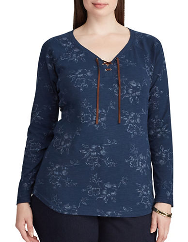 Chaps Plus Lace-up Floral Cotton T-Shirt-INDIGO-3X