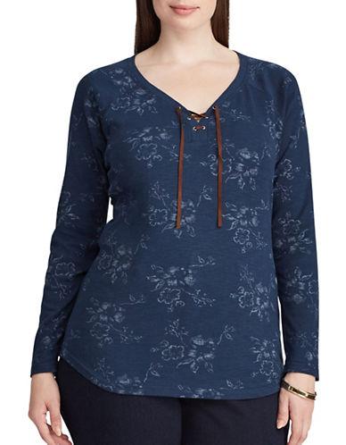 Chaps Plus Lace-up Floral Cotton T-Shirt-INDIGO-1X