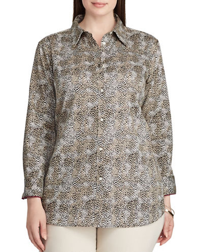Chaps Plus Leopard Cotton Button-Down Shirt-BEIGE-1X