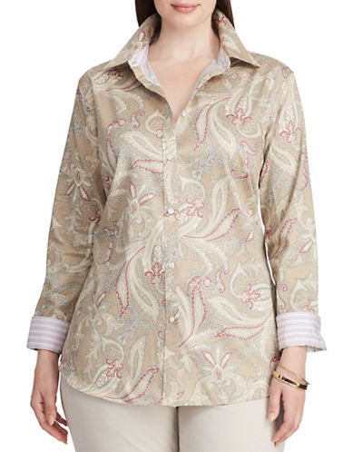 Chaps Plus Paisley Cotton Button-Down Shirt-CREAM MULTI-1X