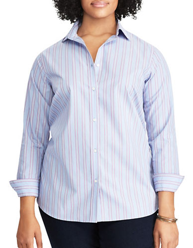 Chaps Plus Striped Cotton Button-Down Shirt-BLUE MULTI-2X