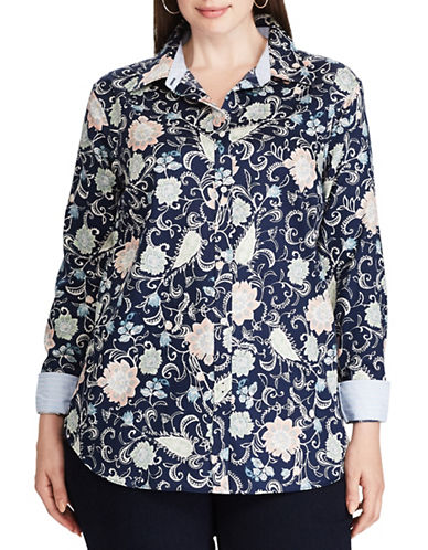 Chaps Plus Floral Cotton Button-Down Shirt-NAVY MULTI-1X