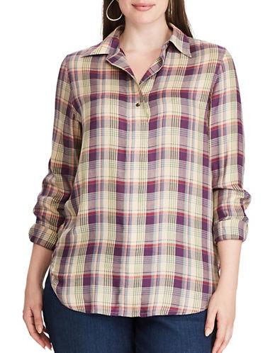 Chaps Plus Plaid Twill Shirt-BISCOTTI-1X