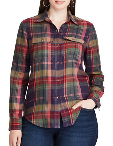 Chaps Plus Plaid Cotton Workshirt-PLUM MULTI-3X