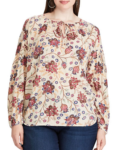 Chaps Plus Shirred Floral Top-CREAM MULTI-1X