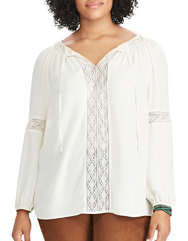 Chaps Plus Lace-Trim Georgette Peasant Top-WHITE-1X