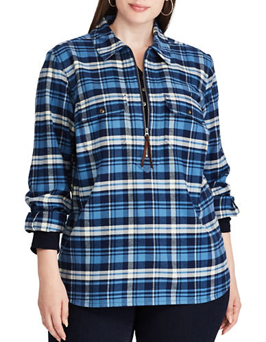 Chaps Plus Straight-Fit Buffalo Plaid Cotton Pullover-BLUE MULTI-3X
