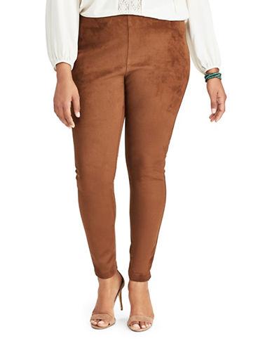 Chaps Plus Mid-Rise Faux Suede Skinny Jeans-MOCHA-3X