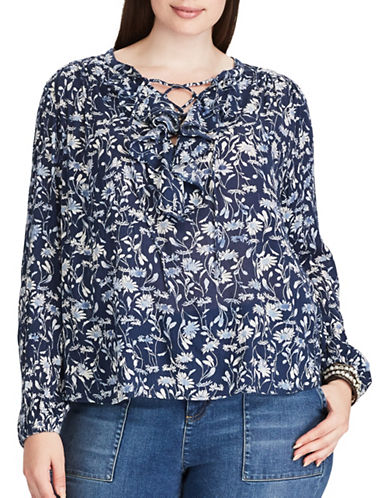 Chaps Plus Relaxed-Fit Floral Ruffled Peasant Top-BLUE MULTI-1X