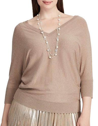 Chaps Plus V-Neck Sweater-CHANTILLY-3X