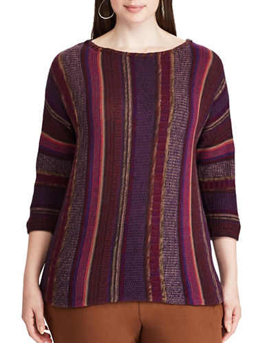 Chaps Plus Leather-Trim Cotton Sweater-PURPLE MULTI-1X