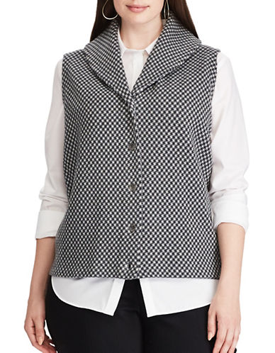 Chaps Plus Checked Sweater Vest-GREY MULTI-2X