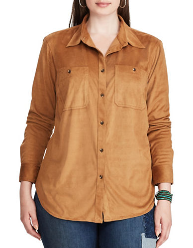 Chaps Plus Faux Suede Workshirt-FAWN SUEDE-2X