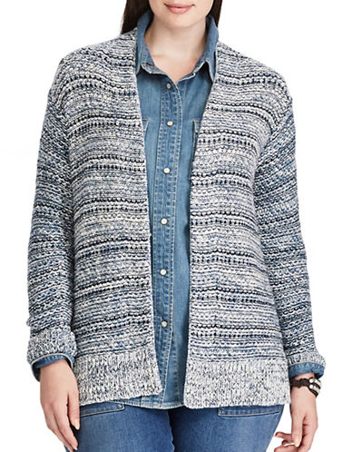 Chaps Plus Open-Front Marled Cardigan-BLUE MULTI-1X