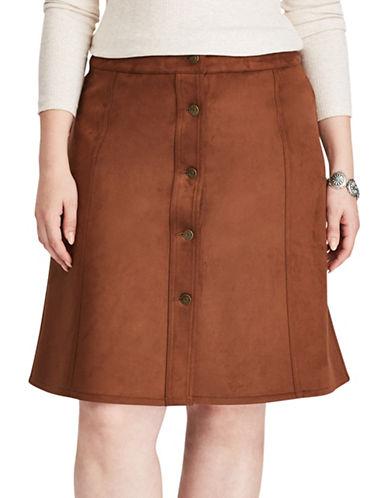 Chaps Plus Faux Suede A-Line Skirt-MOCHA-16W