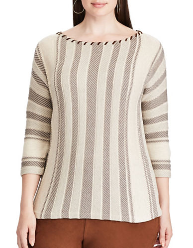Chaps Plus Three-Quarter Sleeve Sweater-BEIGE-2X