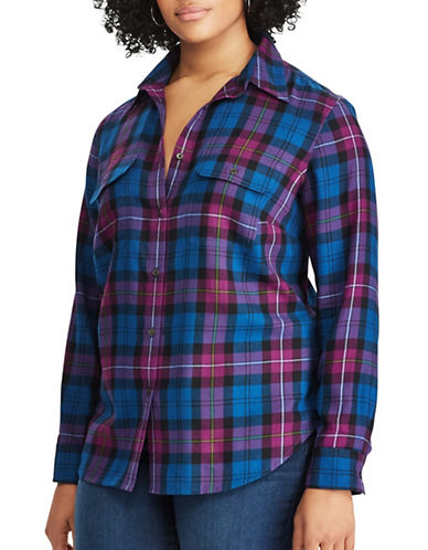 Chaps Plus Plaid Cotton Workshirt-BLUE MULTI-1X