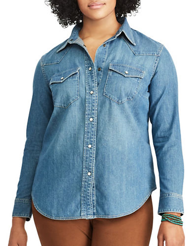 Chaps Plus Denim Western Shirt-BLUE-3X