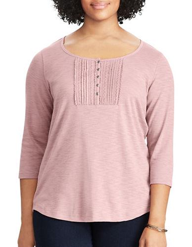 Chaps Plus Lace-Trim Cotton Shirt-ROSE GREY-1X