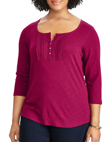 Chaps Plus Lace Trim Cotton Blouse-RED GARNET-2X
