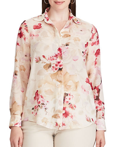 Chaps Plus Floral Button-Down Shirt-CREAM MULTI-3X