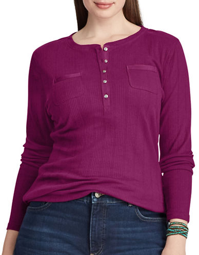 Chaps Plus Rib-Knit Cotton Henley-RED GARNET-3X