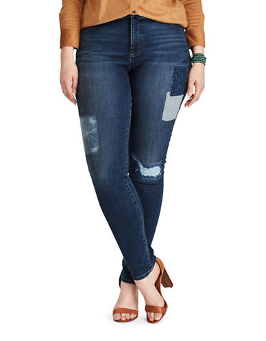 Chaps Plus Mid-Rise Patchwork Stretch Skinny Jeans-BLUE-18W