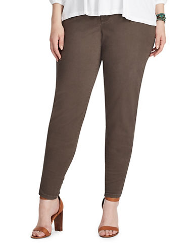 Chaps Plus Four-Way-Stretch Pants-BROWN-18W