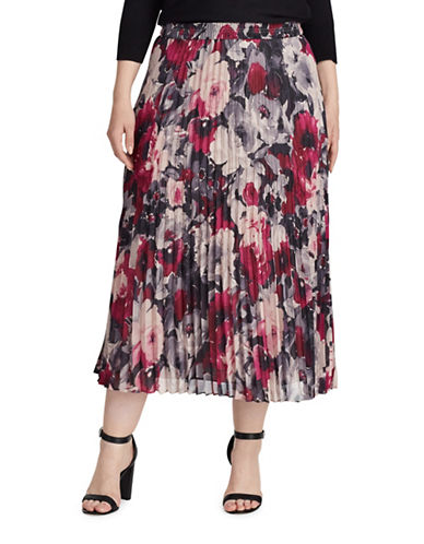 Chaps Plus Floral Georgette Pleated Skirt-BLACK MULTI-1X