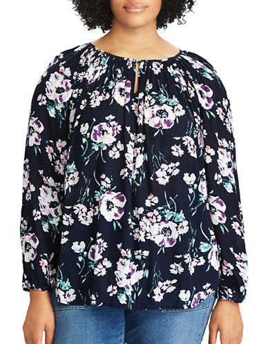 Chaps Plus Floral Peasant Top-NAVY MULTI-3X