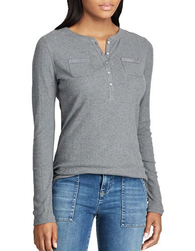 Chaps Petite Cotton Henley-GREY-Petite Small