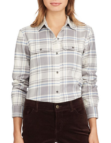 Chaps Plaid Cotton Button-Down Shirt-GREY MULTI-Small