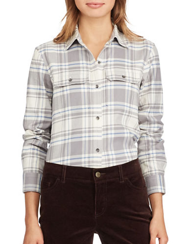 Chaps Petite Plaid Cotton Button-Down Shirt-GREY-Petite X-Large