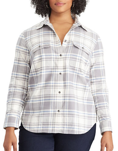 Chaps Plus Plaid Cotton Button-Down Shirt-GREY MULTI-1X