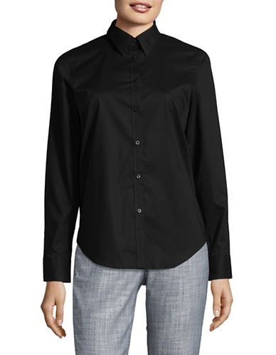 Chaps Petite Bentley Long Sleeve Shirt-BLACK-Petite Medium