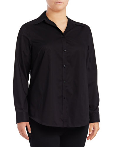 Chaps Plus Bentley Cotton Button-Down Shirt-POLO BLACK-1X