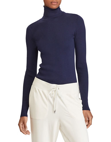 Lauren Ralph Lauren Ribbed Cotton-Blend Turtleneck-BLUE-X-Large