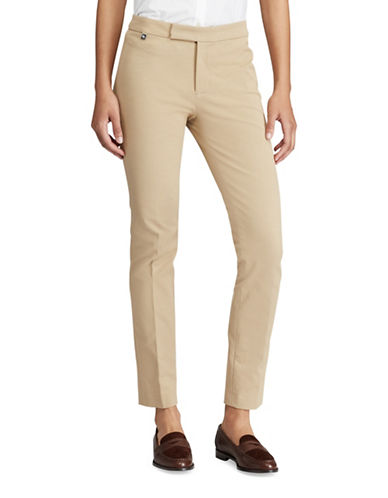 Lauren Ralph Lauren Stretch Twill Mid-Rise Skinny Pants-BEIGE-14