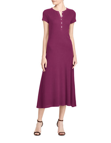Lauren Ralph Lauren Waffle-Knit Cotton Midi Dress-BERRY JAM-Medium