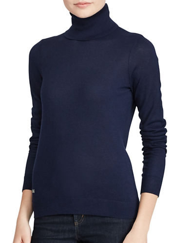Lauren Ralph Lauren Stretch Turtleneck Top-BLUE-Large