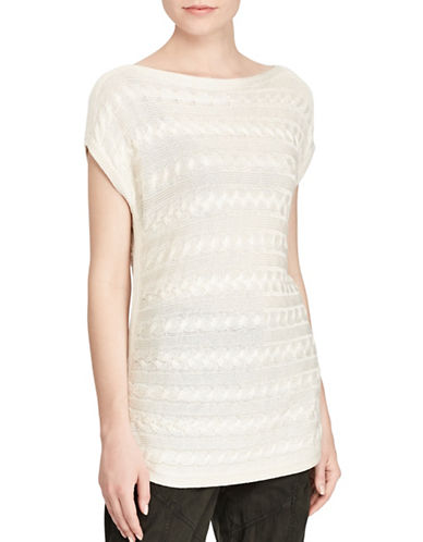 Lauren Ralph Lauren Harrie Short Sleeve Sweater-NATURAL-X-Small