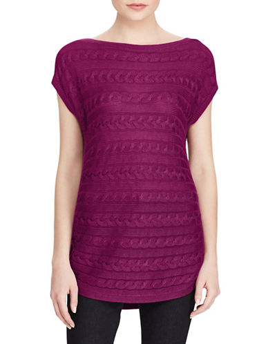 Lauren Ralph Lauren Harrie Short Sleeve Sweater-BERRY JAM-X-Large